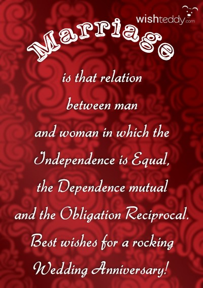 Marriage is the relation between man and woman