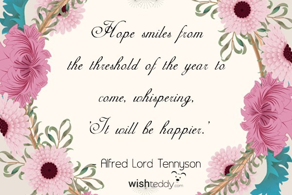 Hope smiles from the threshold of the year to come