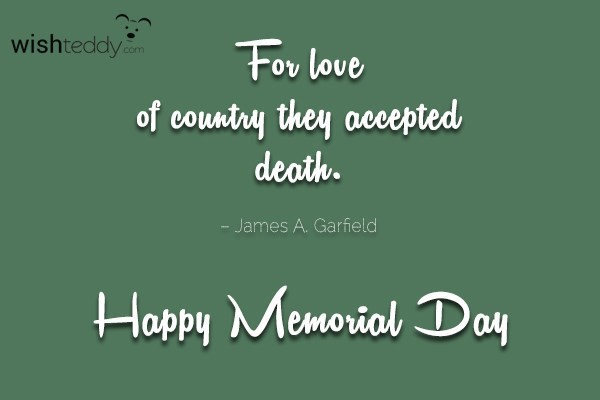For love of country they accepted death