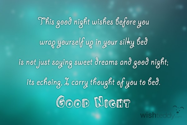 This good night wishes before you wrap yourself up in your silky bed